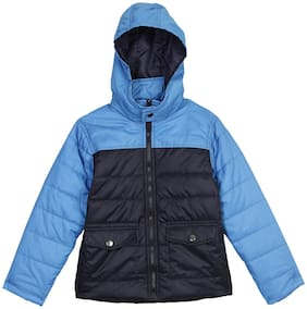 612 League Boy Cotton Checked Winter jacket - Blue