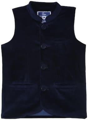 612 League Boy Cotton Solid Ethnic jacket - Blue