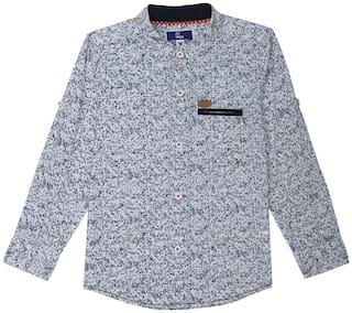 612 League Boy Cotton Printed Shirt White