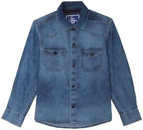 612 League Boy Cotton Printed Shirt Blue