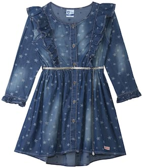 612 League Blue Cotton Full Sleeves Knee Length Princess Frock ( Pack of 1 )