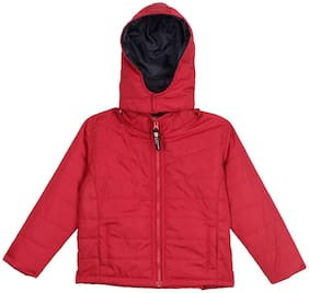 612 League Boy Cotton Checked Winter jacket - Red