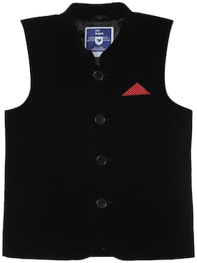 612 League Boy Cotton Solid Ethnic jacket - Black