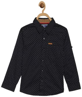 612 League Boy Cotton Printed Shirt Black
