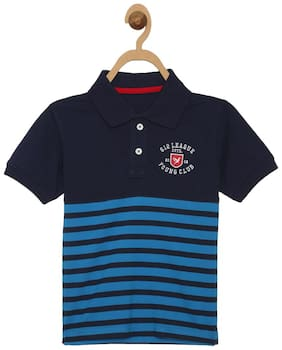 612 League Boy Cotton Striped T-shirt - Blue