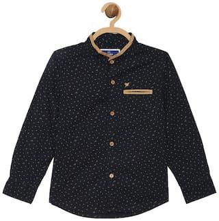 612 League Boy Cotton Printed Shirt Black