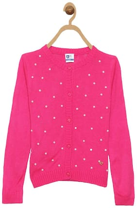 612 League Girl Acrylic Solid Sweater - Pink