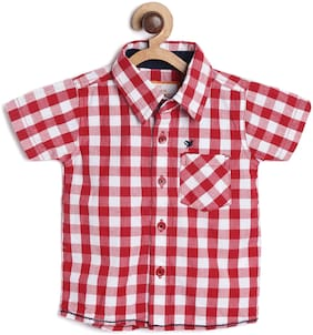 612 League Boy Cotton Checked Shirt Red
