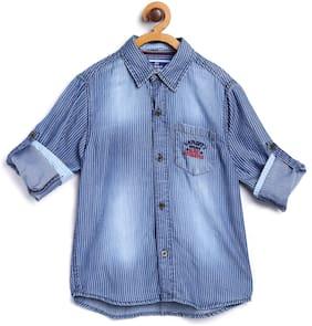 612 League Boy Cotton Striped Shirt Blue