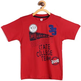 612 League Boy Cotton Printed T-shirt - Red