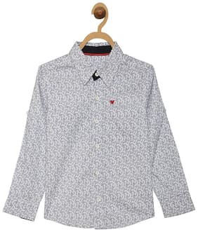 612 League Boy Cotton Solid Shirt White
