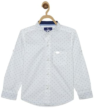 612 League Boy Cotton Printed Shirt White