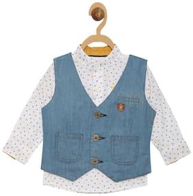 612 League Boy Cotton Solid Shirt White
