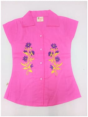 7 TIARA Girls Casual Cambric Shirt Style Top