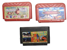 8 Bit Tv Video Game Cassettes Like Jungle Book, Alladin & Mix Numbers ( Set Of 3)