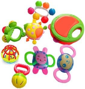8 Piece Baby Concert Rattles -Teether, Shaker, Grab and Spin Rattle, Musical Toy Set, Toys for 3, 6, 9, 12 Month Baby Infant, Newborn Toys