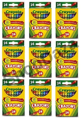 9 boxes Non-Toxic Crayola Crayons  24 count Assorted Art colors/box 219 total