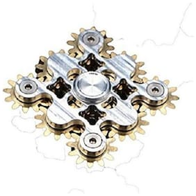 Premsons 9 Gear Spinner - Smooth Silver Metal Surface with Brass Gears - Premium 9 Gear Spinner, Ultra Durable and Stable