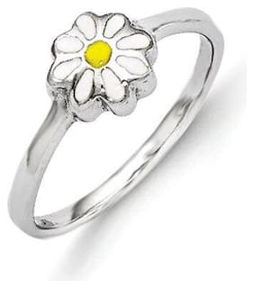 925 Silver Rhodium Plated Child's White & Yellow Enamel Daisy Ring Size 4