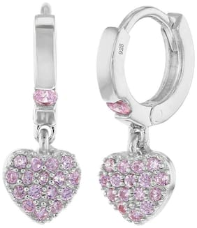 925 Sterling Silver Girls Small Hoop Pink CZ Heart Dangle Earrings Toddlers Kids