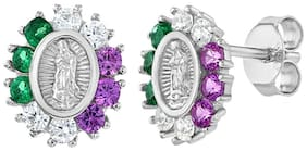 925 Sterling Silver Multicolor CZ Guadalupe Virgin Mary Stud Earrings for Girls