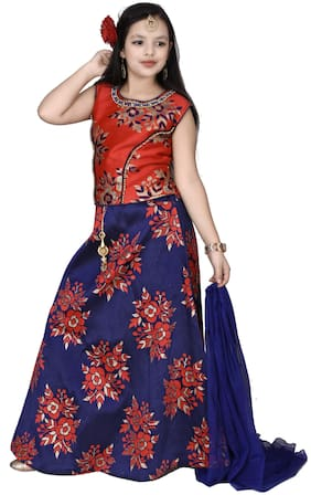 A&A Fashion Girl's Silk blend Floral Sleeveless Lehenga choli - Red