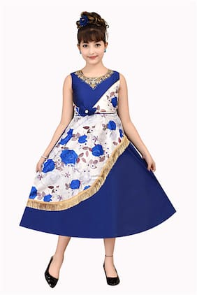 A&A Fashion Girl's Satin Floral Sleeveless Gown - Blue