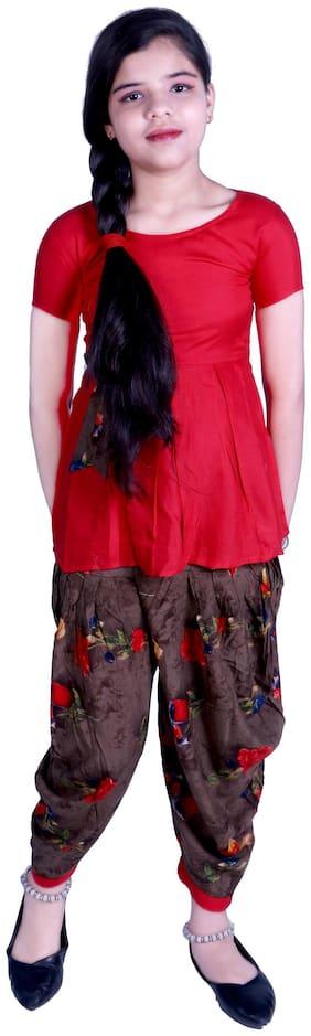 A&A Fashion Girl Rayon Top & Bottom Set - Red