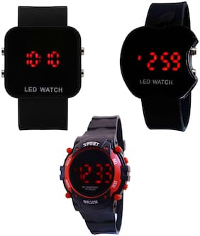 A Avon 3 Unit Combo Digital LED Black Watch For Kids - 2002922