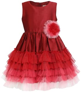 A Little Fable Red Polyester Blend Sleeveless Knee Length Princess Frock ( Pack of 1 )