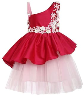A Little Fable Pink Polyester Blend Sleeveless Knee Length Princess Frock ( Pack of 1 )