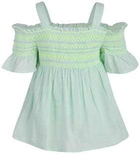 A Little Fable Girl Cotton Solid Top - Green