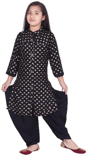 A - TEX INDIA Girl's Rayon Printed 3/4th sleeves Kurti & salwar set - Black