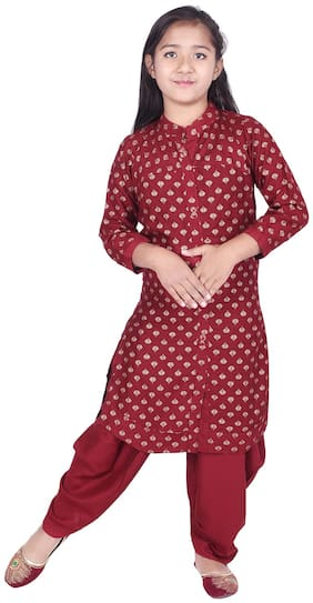 A - TEX INDIA Girl's Rayon Printed 3/4th sleeves Kurti & salwar set - Maroon