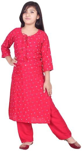 A - TEX INDIA Girl's Rayon Straight EmbroideKurti & Salwar Set (Pink)