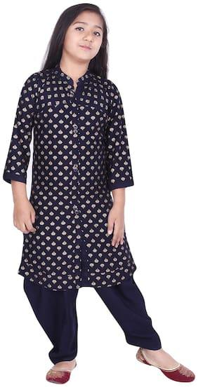 A - TEX INDIA Girl's Rayon Printed 3/4th sleeves Kurti & salwar set - Blue