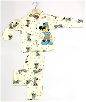 AAAKAR Boy's Cotton Mickey Mouse Printed NightSuit Yellow