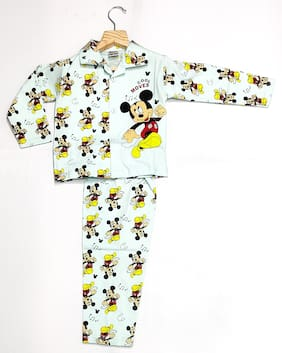 AAAKAR Boy's Cotton Mickey Mouse Printed NightSuit Blue
