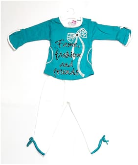 AAAKAR Girl's Cotton blend Printed Top & pyjama set - Blue