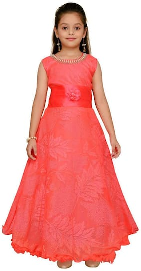 Aarika Girl's Net Solid Sleeveless Gown - Red