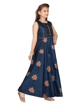 Aarika Girl's Art silk Self design Sleeveless Gown - Green