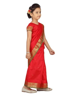 Aarika Girl's Silk Solid Short sleeves Saree - Red