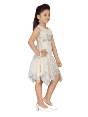Aarika Cream Net Sleeveless Knee Length Princess Frock ( Pack of 1 )