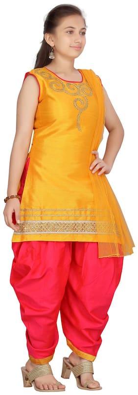 Aarika Girl's Silk Embellished Sleeveless Kurti & salwar set - Yellow