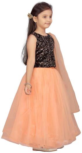 Aarika Girl's Velvet Embellished Sleeveless Lehenga choli - Black & Orange
