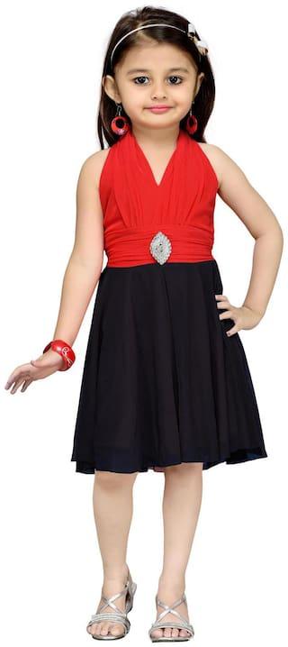 Aarika Baby girl Net Solid Princess frock - Black