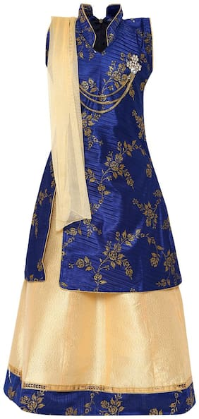 Aarika Girl's Art silk Self design Sleeveless Lehenga choli - Blue & Beige