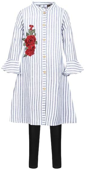 Aarika Girl's Cotton Printed 3/4th sleeves Kurti & salwar set - White