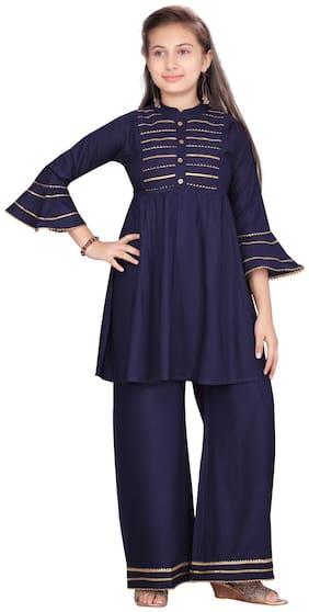 Aarika Cotton Blue Striped Kurti & Salwar Set  For Girl