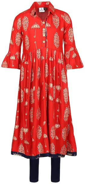 Aarika Girl's Cotton Printed 3/4th sleeves Kurti & salwar set - Red